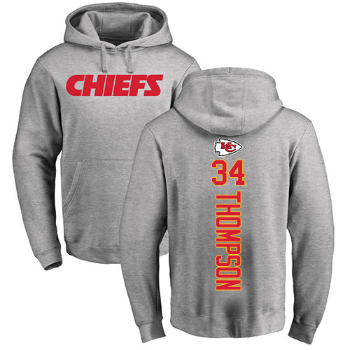 Men Kansas City Chiefs 34 Thompson Darwin Ash Backer Pullover Hoodie