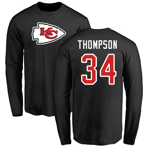 Men Kansas City Chiefs 34 Thompson Darwin Black Name and Number Logo Long Sleeve T-Shirt