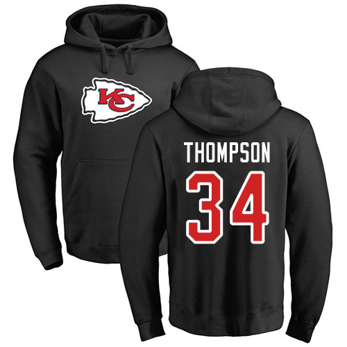 Men Kansas City Chiefs 34 Thompson Darwin Black Name and Number Logo Pullover Hoodie