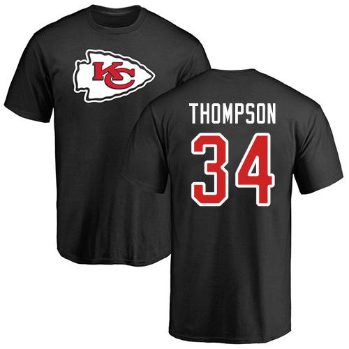 Men Kansas City Chiefs 34 Thompson Darwin Black Name and Number Logo T-Shirt