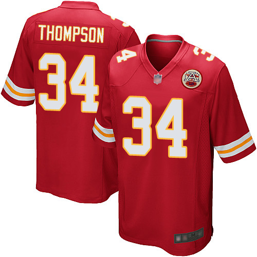 Men Kansas City Chiefs 34 Thompson Darwin Game Red Team Color Football Nike NFL Jersey