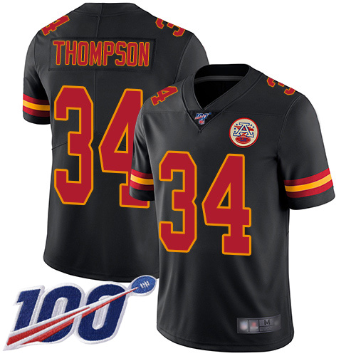 Men Kansas City Chiefs 34 Thompson Darwin Limited Black Rush Vapor Untouchable 100th Season Football Nike NFL Jersey