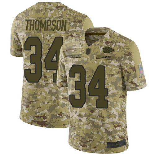 Men Kansas City Chiefs 34 Thompson Darwin Limited Camo 2018 Salute to Service Football Nike NFL Jersey
