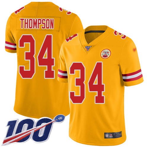 Men Kansas City Chiefs 34 Thompson Darwin Limited Gold Inverted Legend 100th Season Football Nike NFL Jersey