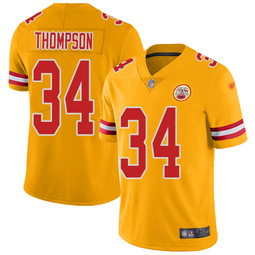 Men Kansas City Chiefs 34 Thompson Darwin Limited Gold Inverted Legend Football Nike NFL Jersey
