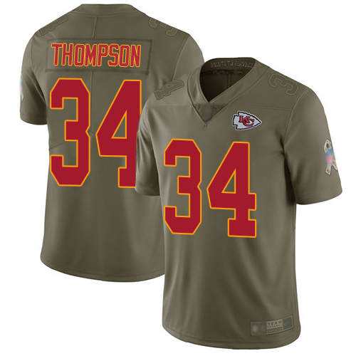 Men Kansas City Chiefs 34 Thompson Darwin Limited Olive 2017 Salute to Service Football Nike NFL Jersey
