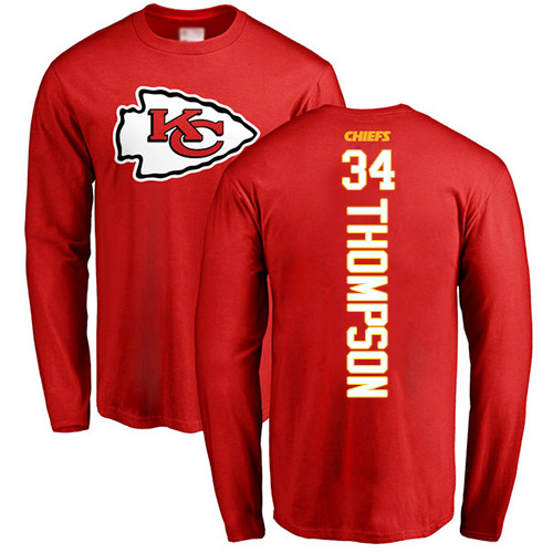Men Kansas City Chiefs 34 Thompson Darwin Red Backer Long Sleeve T-Shirt