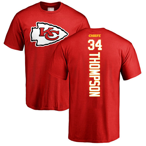Men Kansas City Chiefs 34 Thompson Darwin Red Backer T-Shirt