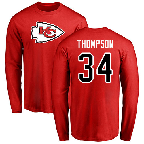 Men Kansas City Chiefs 34 Thompson Darwin Red Name and Number Logo Long Sleeve T-Shirt