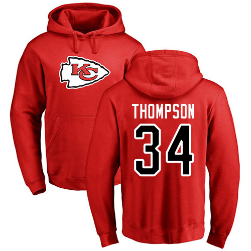 Men Kansas City Chiefs 34 Thompson Darwin Red Name and Number Logo Pullover Hoodie