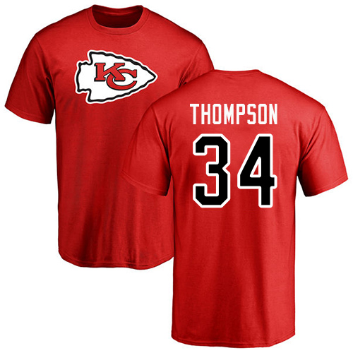 Men Kansas City Chiefs 34 Thompson Darwin Red Name and Number Logo T-Shirt