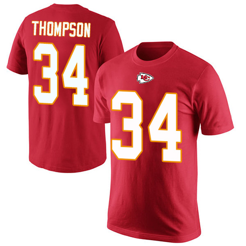 Men Kansas City Chiefs 34 Thompson Darwin Red Rush Pride Name and Number T-Shirt
