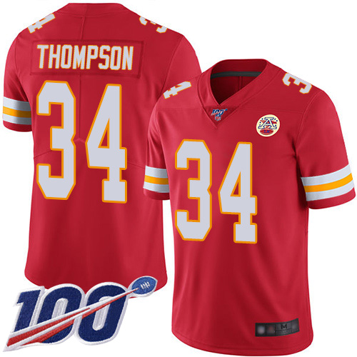 Men Kansas City Chiefs 34 Thompson Darwin Red Team Color Vapor Untouchable Limited Player 100th Season Football Nike NFL Jersey