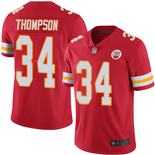 Men Kansas City Chiefs 34 Thompson Darwin Red Team Color Vapor Untouchable Limited Player Football Nike NFL Jersey