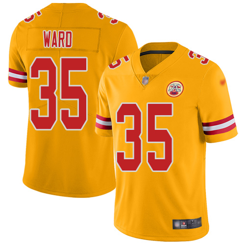 Men Kansas City Chiefs 35 Ward Charvarius Limited Gold Inverted Legend Football Nike NFL Jersey