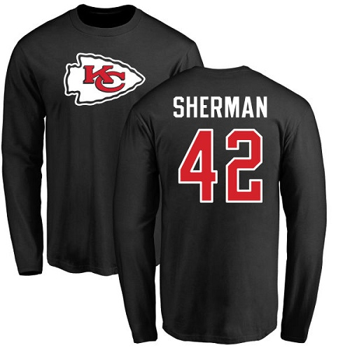 Men Kansas City Chiefs 42 Sherman Anthony Black Name and Number Logo Long Sleeve NFL T Shirt
