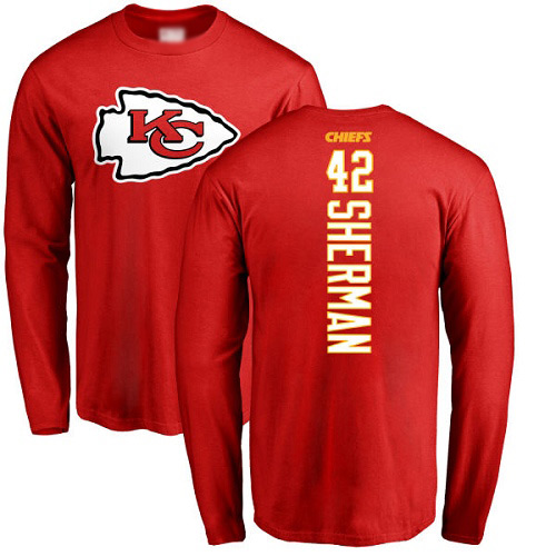 Men Kansas City Chiefs 42 Sherman Anthony Red Backer Long Sleeve NFL T Shirt