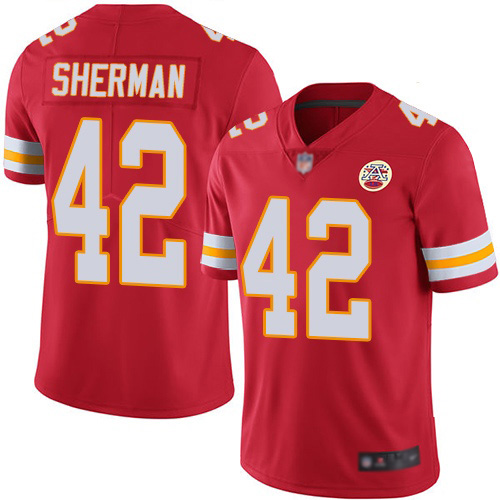 Men Kansas City Chiefs 42 Sherman Anthony Red Team Color Vapor Untouchable Limited Player Nike NFL Jersey