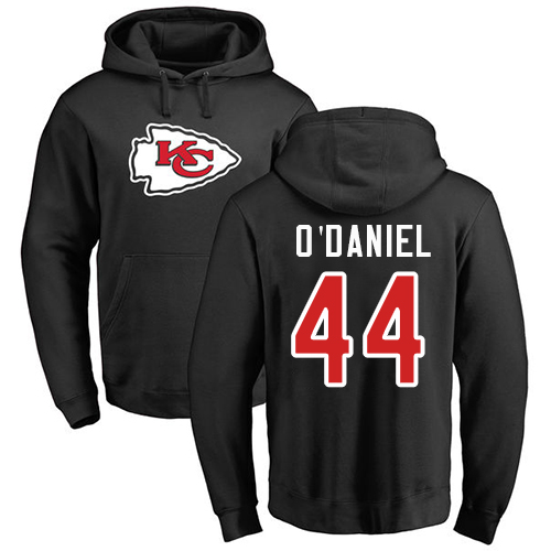 Men Kansas City Chiefs 44 ODaniel Dorian Black Name and Number Logo Pullover NFL Hoodie Sweatshirts
