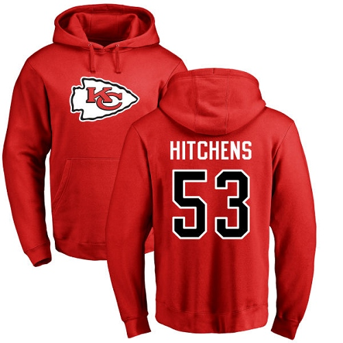 Men Kansas City Chiefs 53 Hitchens Anthony Red Name and Number Logo Pullover NFL Hoodie Sweatshirts