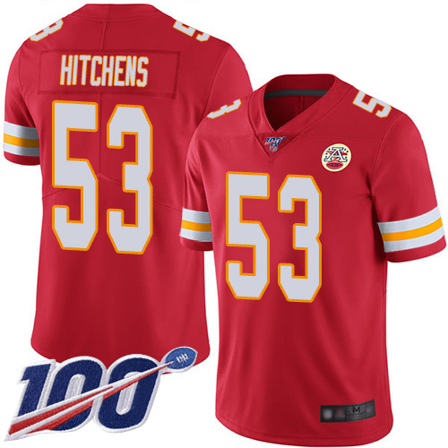 Men Kansas City Chiefs 53 Hitchens Anthony Red Team Color Vapor Untouchable Limited Player 100th Season Nike NFL Jersey