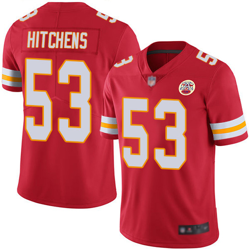 Men Kansas City Chiefs 53 Hitchens Anthony Red Team Color Vapor Untouchable Limited Player Nike NFL Jersey