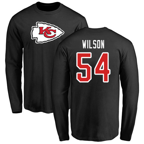 Men Kansas City Chiefs 54 Wilson Damien Black Name and Number Logo Long Sleeve NFL T Shirt