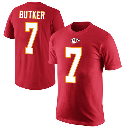 Men Kansas City Chiefs 7 Butker Harrison Red Rush Pride Name and Number T-Shirt