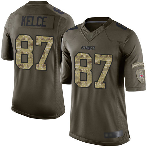 Men Kansas City Chiefs 87 Kelce Travis Limited Green Salute to Service Football Nike NFL Jersey