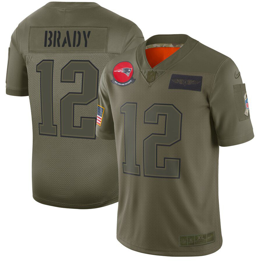 Men New England Patriots 12 Brady Green Nike Olive Salute To Service Limited NFL Jerseys