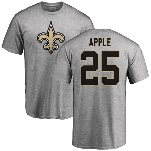 Men New Orleans Saints Ash Eli Apple Name and Number Logo NFL Football 25 T Shirt