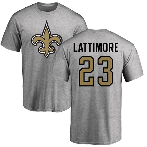 Men New Orleans Saints Ash Marshon Lattimore Name and Number Logo NFL Football 23 T Shirt