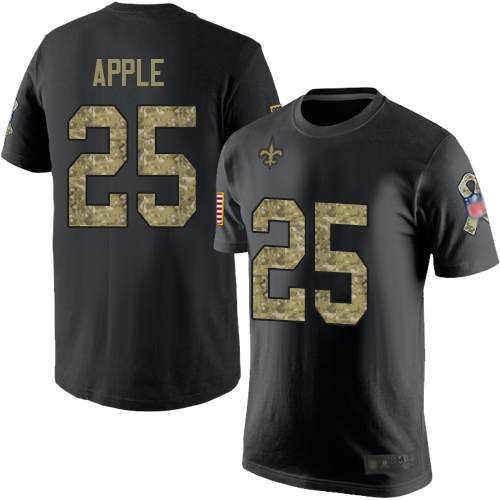 Men New Orleans Saints Black Camo Eli Apple Salute to Service NFL Football 25 T Shirt