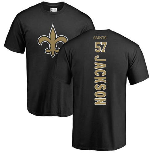 Men New Orleans Saints Black Rickey Jackson Backer NFL Football 57 T Shirt