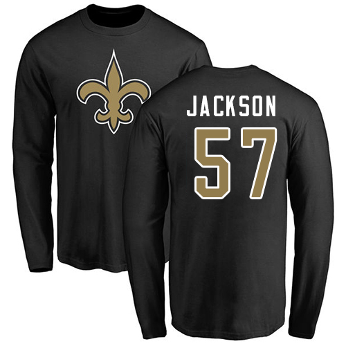 Men New Orleans Saints Black Rickey Jackson Name and Number Logo NFL Football 57 Long Sleeve T Shirt