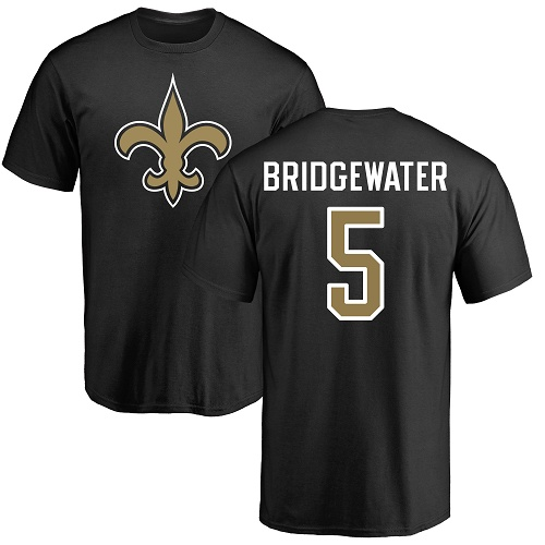 Men New Orleans Saints Black Teddy Bridgewater Name and Number Logo NFL Football 5 T Shirt