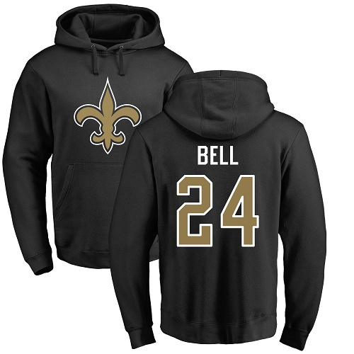 Men New Orleans Saints Black Vonn Bell Name and Number Logo NFL Football 24 Pullover Hoodie Sweatshirts