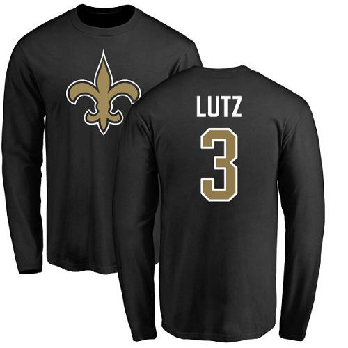 Men New Orleans Saints Black Wil Lutz Name and Number Logo NFL Football 3 Long Sleeve T Shirt