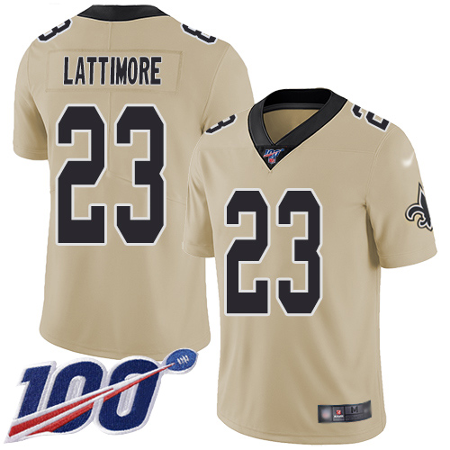 Men New Orleans Saints Limited Gold Marshon Lattimore Jersey NFL Football 23 100th Season Inverted Legend Jersey