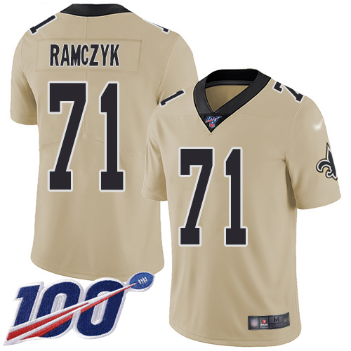 Men New Orleans Saints Limited Gold Ryan Ramczyk Jersey NFL Football 71 100th Season Inverted Legend Jersey