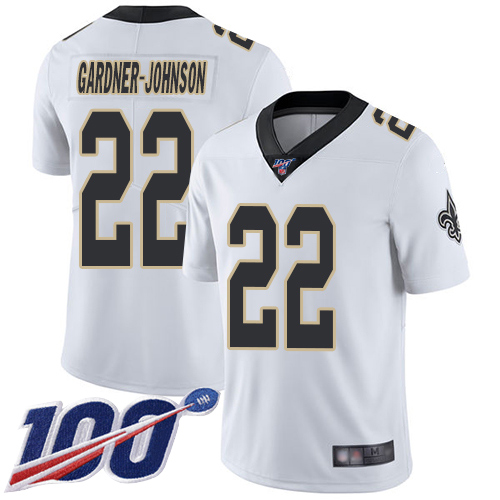 Men New Orleans Saints Limited White Chauncey Gardner Johnson Road Jersey NFL Football 22 100th Season Vapor Untouchable Jersey