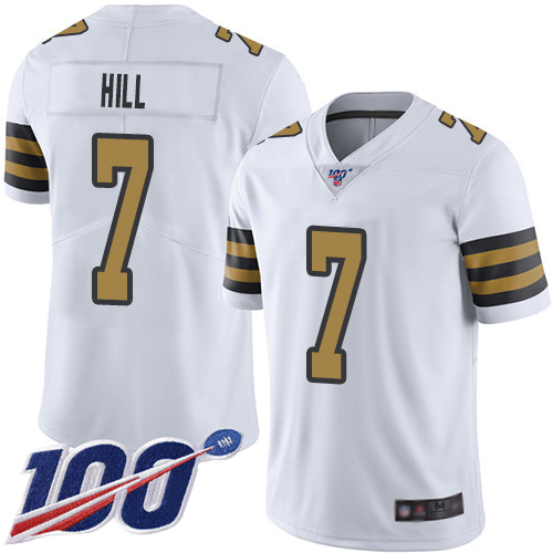 Wholesale Men New Orleans Saints Limited White Taysom Hill Jersey NFL Football 7 100th Season Rush Vapor Untouchable Jersey