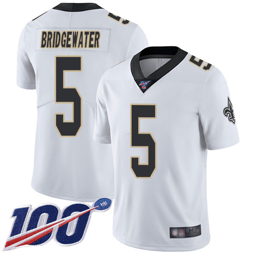 Men New Orleans Saints Limited White Teddy Bridgewater Road Jersey NFL Football 5 100th Season Vapor Untouchable Jersey
