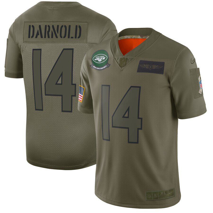 Men New York Jets 14 Darnold Green Nike Olive Salute To Service Limited NFL Jerseys