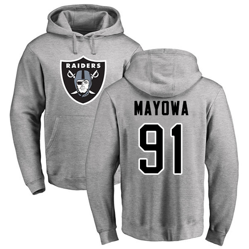 Wholesale Men Oakland Raiders Ash Benson Mayowa Name and Number Logo NFL Football 91 Pullover Hoodie Sweatshirts