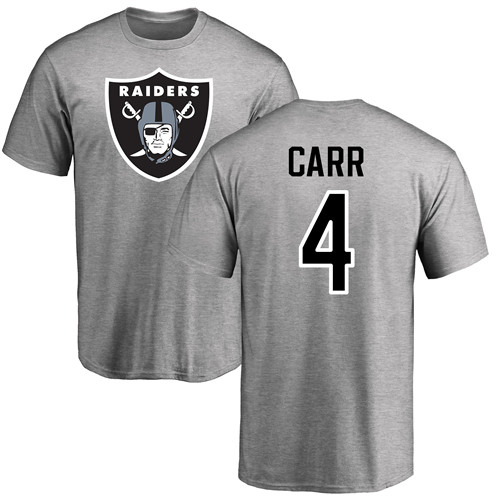 Men Oakland Raiders Ash Derek Carr Name and Number Logo NFL Football 4 T Shirt