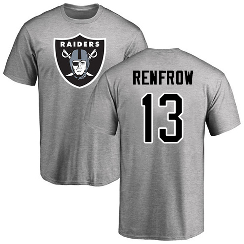Men Oakland Raiders Ash Hunter Renfrow Name and Number Logo NFL Football 13 T Shirt