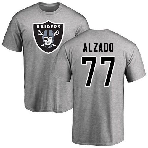 Men Oakland Raiders Ash Lyle Alzado Name and Number Logo NFL Football 77 T Shirt