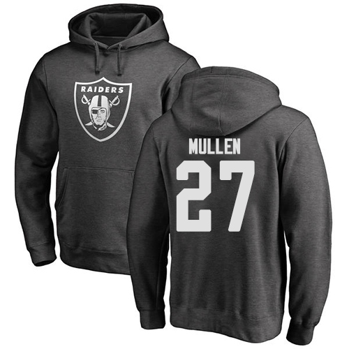 Men Oakland Raiders Ash Trayvon Mullen One Color NFL Football 27 Pullover Hoodie Sweatshirts
