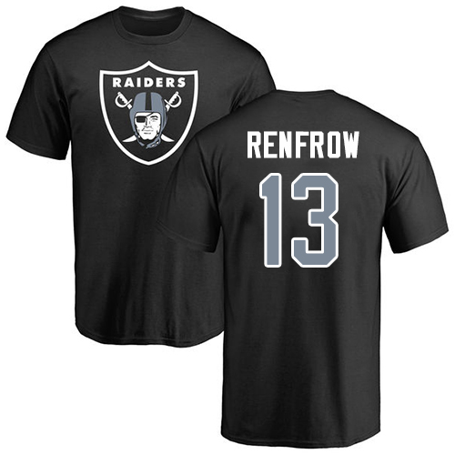 Wholesale Men Oakland Raiders Black Hunter Renfrow Name and Number Logo NFL Football 13 T Shirt